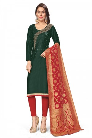 Dark Green Jaam Cotton Dress Material