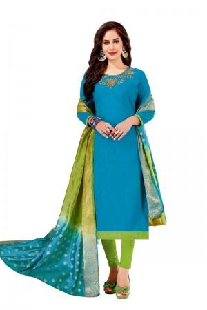Sky Blue Cotton South Slub Dress Material