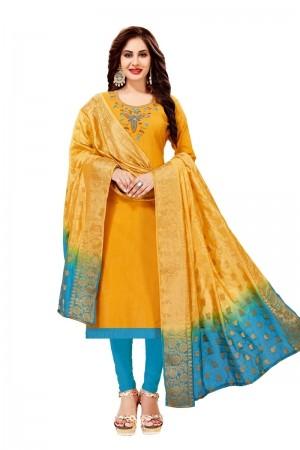 Yellow Cotton South Slub Dress Material
