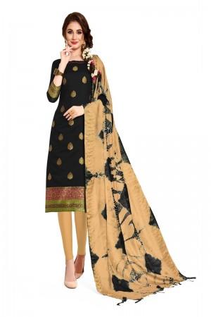 Black Banarasi Dress Material