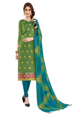Green Banarasi Dress Material