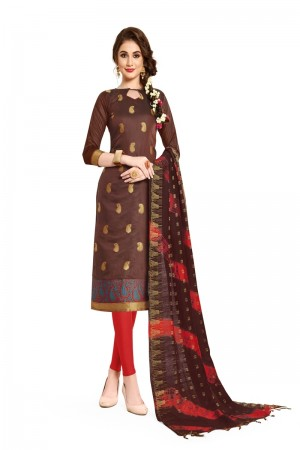 Brown Banarasi Dress Material