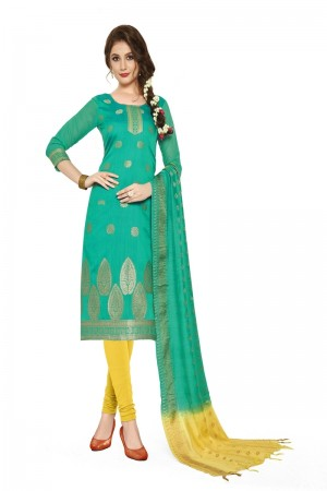 Light teal Banarasi Dress Material