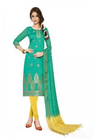 Light teal Banarasi Dress Material