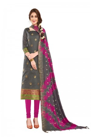 Dark Grey Banarasi Dress Material
