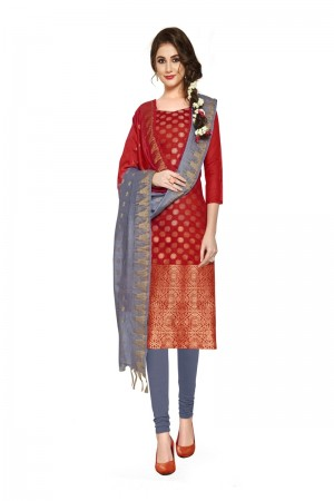 Maroon Banarasi Dress Material