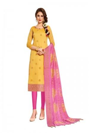 Yellow Banarasi Dress Material