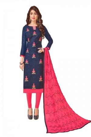 Navy Blue Bombay Jacquard Dress Material