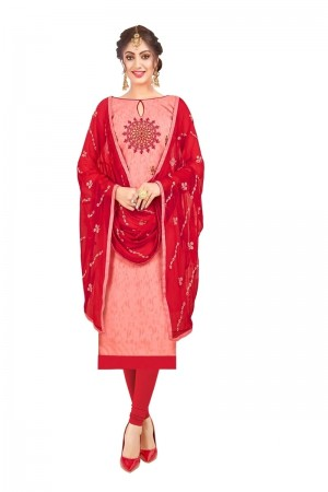 Peach Bombay Jacquard Dress Material