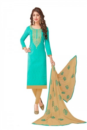 Turquoise Bombay Jacquard Dress Material
