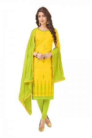 Yellow Bombay Jacquard Dress Material
