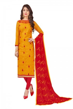 Orange Bombay Jacquard Dress Material