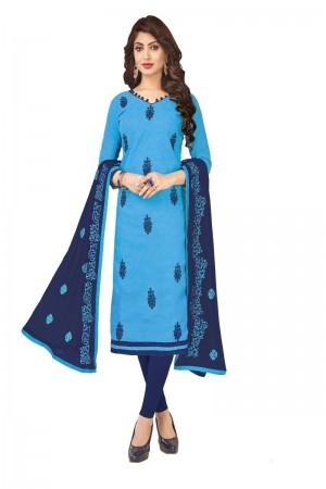 Blue Bombay Jacquard Dress Material