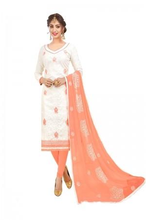 White Bombay Jacquard Dress Material