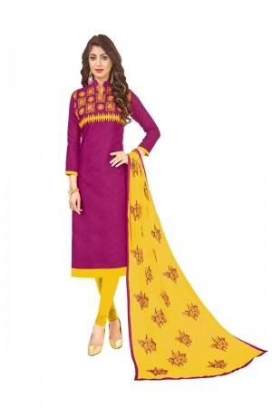 Purple Bombay Jacquard Dress Material