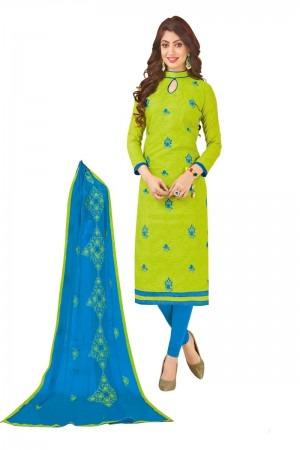 Parrot green Bombay Jacquard Dress Material