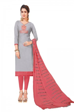 Grey Modal Silk Dress Material