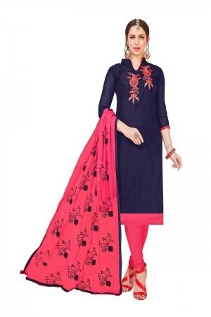 Navy Blue Modal Silk Dress Material