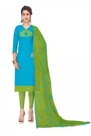 Sky Blue Modal Silk Dress Material
