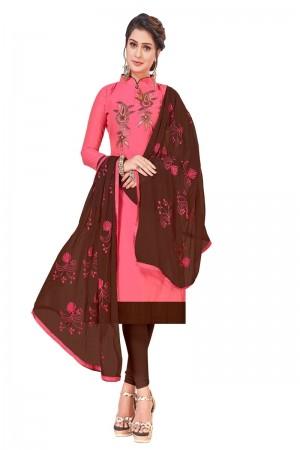 Peach Modal Silk Dress Material