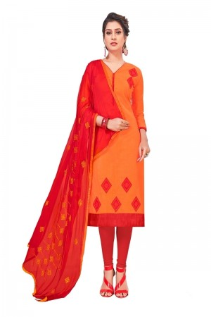 Orange South Cotton Slub Dress Material
