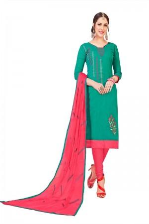 Rama Green South Cotton Slub Dress Material