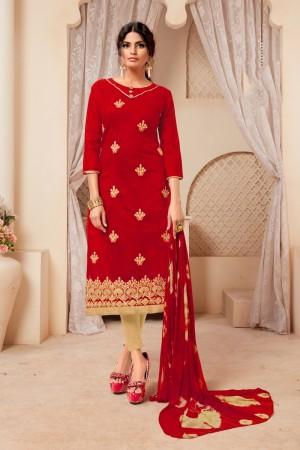 Red Modal Silk Dress Material