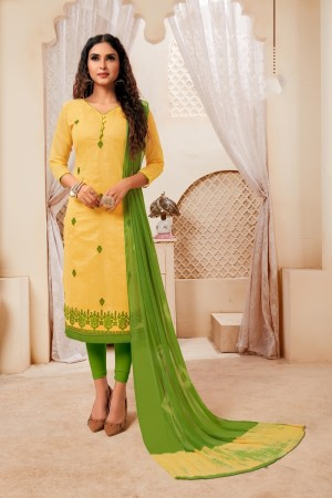 Yellow Modal Silk Dress Material