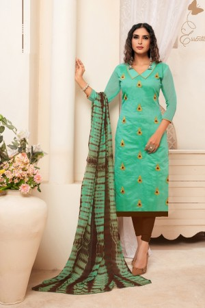 Turquoise Modal Silk Dress Material