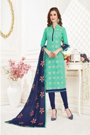 Turquoise Banarasi Jacquard Dress Material