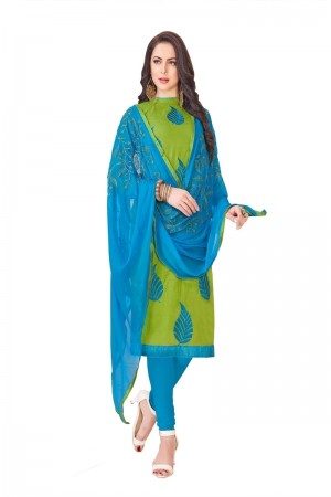 Parrot Green South Cotton Slub Dress Material
