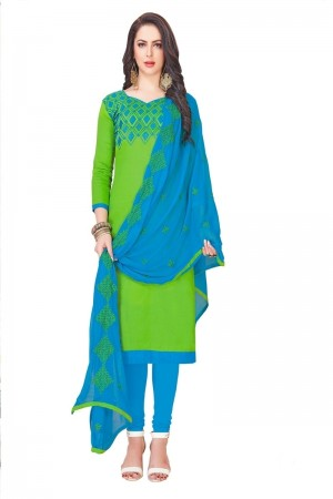Parrot Green Glass (satin)Cotton Dress Material