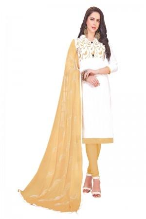 White Glass (satin)Cotton Dress Material