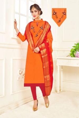 Orange Cotton South Slub Dress Material