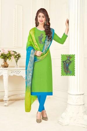Parrot Green Cotton South Slub Dress Material