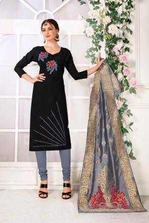 Black Handloom Cotton Dress Material