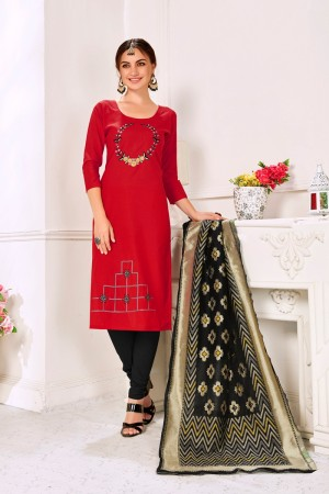 Red Handloom Cotton Dress Material