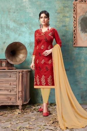 Red Chanderi Cotton Dress Material