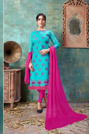 Sky Blue Chanderi Cotton Dress Material