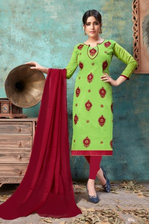 Light Parrot Green Chanderi Cotton Dress Material