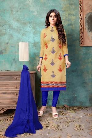Chiku Chanderi Cotton Dress Material