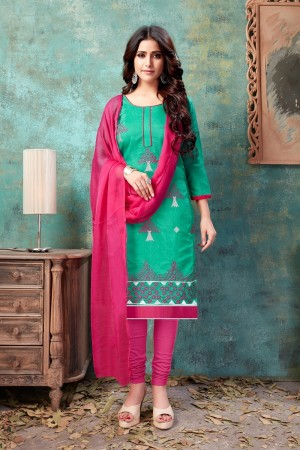 Light Teal Chanderi Cotton Dress Material