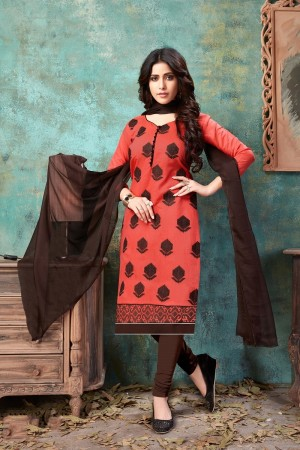 Orange Chanderi Cotton Dress Material