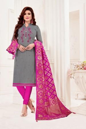 Grey Cotton Flex Dress Material
