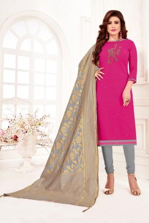 Pink Cotton Flex Dress Material