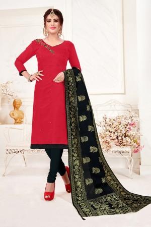 Red Cotton Flex Dress Material