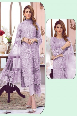 Light Purple Net Salwar Kameez