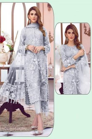 Grey Net Salwar Kameez