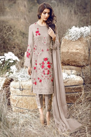 Light Brown Georgette Salwar Kameez