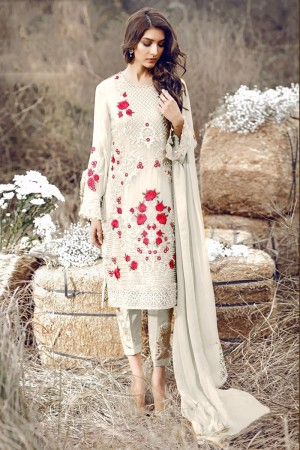 Off White Georgette Salwar Kameez